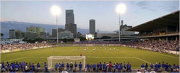 Creighton University soccer field in Omaha, Nebraska.