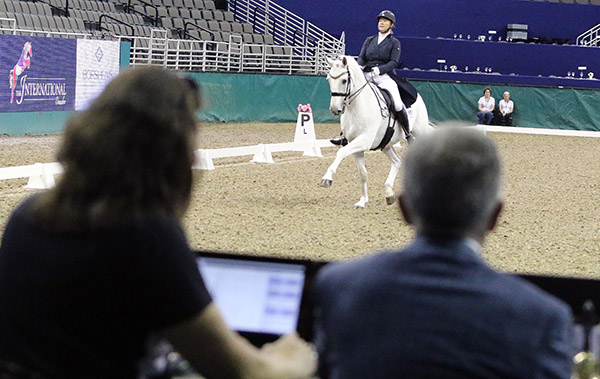 American 5* judge Gary Rockwell, president of the ground jury at the Omaha International CDI4*, using the new computer system to award marks for Canada's Olympic combination of Jacqueline Brooks and D Niro. 2016 Ken Braddick/dressage-news.com