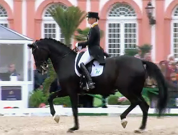 Isabell Werth and Weihegold OLD competing in CDI5* Grand Prix at Wiesbaden, Hermany.