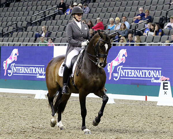 Karen Pavicic on Don Daiquiri, winner of the inaugural International CDI, a test event for thr 2017 World Cup Finals of dressage and jumping. © 2016 Ken Braddick/dressage-news.com