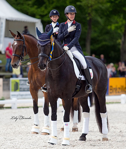American combinations Kasey Perry-Glass on Dublet and Laura Graves on Verdades, top two places in CDIO5* Nations Cup Grand Pix. © 2016 Lily Forado for dressage-news.com