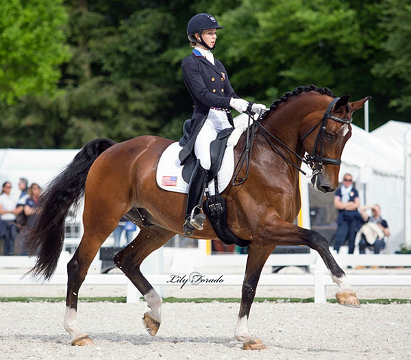 Laura Graves and Verdades in the Nations Cup Grand Prix, the first event for the pair in Europe this year. © 2016 Lily Forado for dressage-news.com