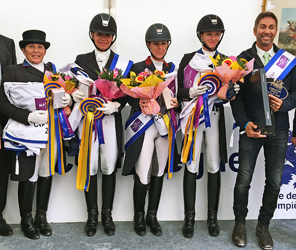 USA team of Shelly Francis, Allison Brock, Kasey Perry and Laura Graves with chef d'equipe Robert Dover after being declared the winner of the CDIO5* Nations Cup at Compiègne, France. © 2016 Lily Forado for dressage-news.com