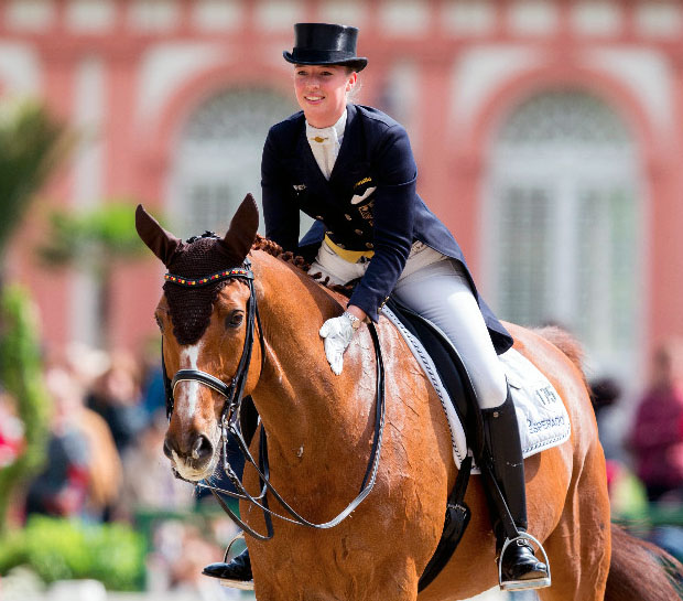 Fabienne Lütkemeier and Qui Vincit Dynamis at the CDI5* World Dressage Masters in Wiesbaden. © 2016 WRFC/Lafrentz