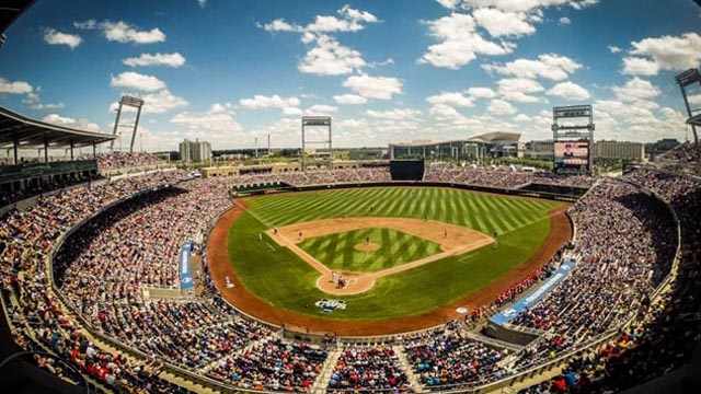 The TD Ameritrade Stadium, state of the art host of the annual College World Series of Baseball, hat seats 24,000 and can be expanded for 35,000 spectators.