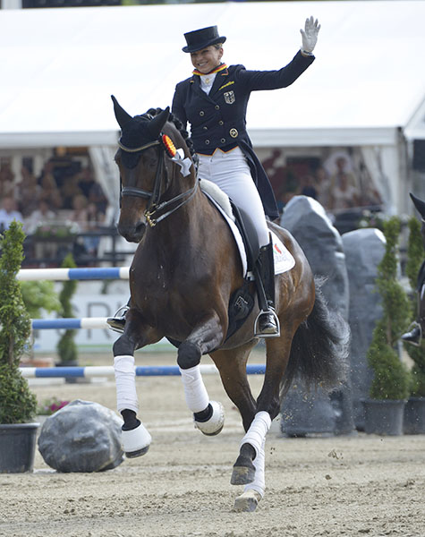 Dorothee Schneider on Showtime celebrating at the German Championships.
