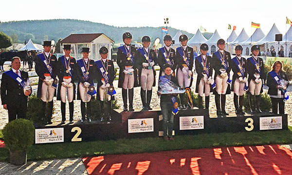 European Under-25 Championships Nations Cup medals podium--Germany gold, Netherlands silver, Sweden bronze. © 2016 Lily Forado, for dressage-news.com