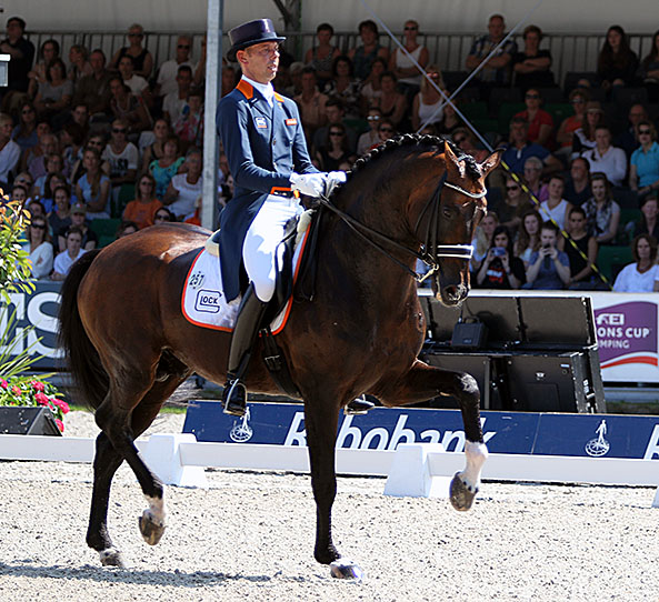 Hans Peter Minderhoud riding Glock's Johnson to ut the Netherlands the lead at the Nations Cup. © 2016 Ken Braddick/dressage-news.com the