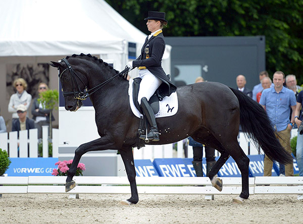 Isabell Werth and Weihegold OLD competing at the German Championships.