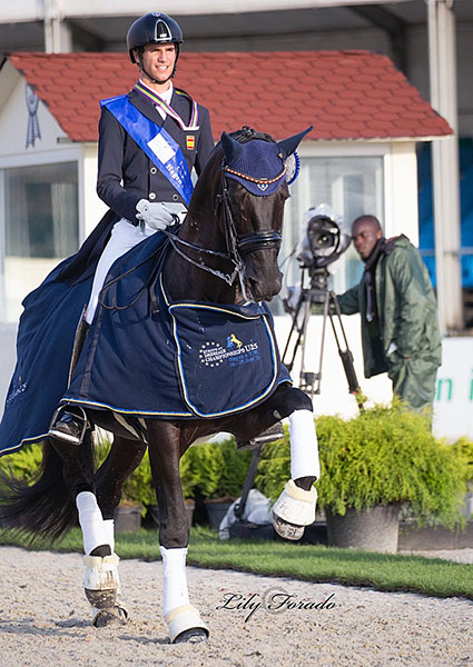 Juan Matute, Jr. on Don Diego Ymas in the honor roud after placing third in the European Championships Under-25 Individual Grand Prix. © 2016 Lily Forado for dressage-news.com