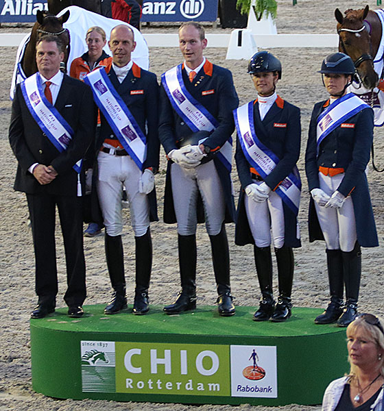 The Netherlands Nations Cup winning team at Rotterdam CDIO5*. © 2016 Ken Braddick/dressage-news.com