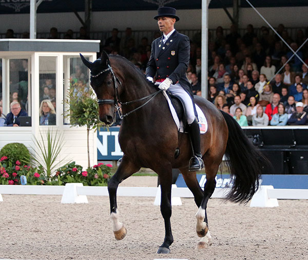 Steffen Peters on Legolas n the CDIO5* Nations Cup Grand Prix Freestyle. © 2016 Ken Braddick/dressage-news.com