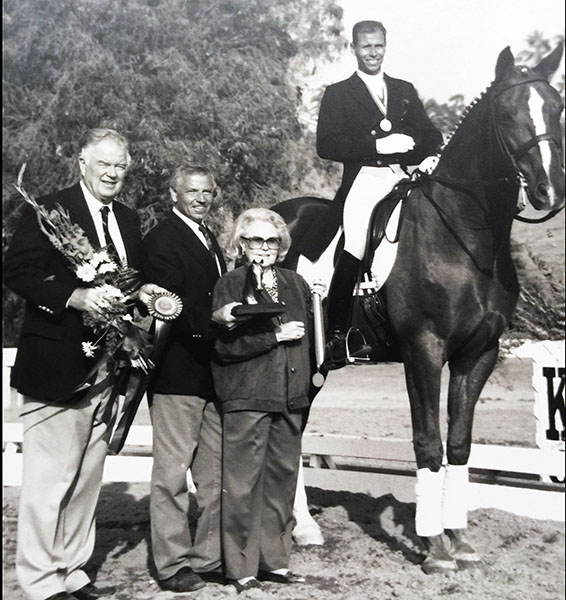 Steffen Peters on Udon with his father, Hans Hermann Peters and Lila and Bob Kommerstad. Photo: Courtesy Steffen Peters