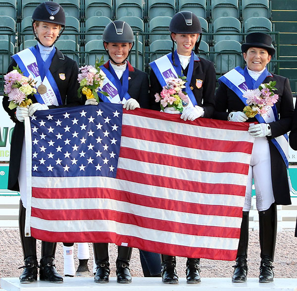 USA Nations Cup team of Arlene Page, Kasey Perry-Glass, Laura Graves and Shelly Francis in Wellington, Florida. © 2016 Ken Braddick/dressage-news.com