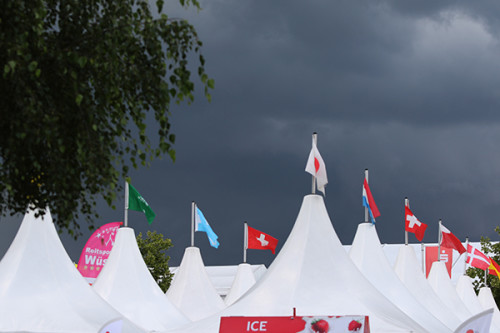 The delightfully rainy, damp skies of Aachen 2016 © Ilse Schwarz/dressage-news.com