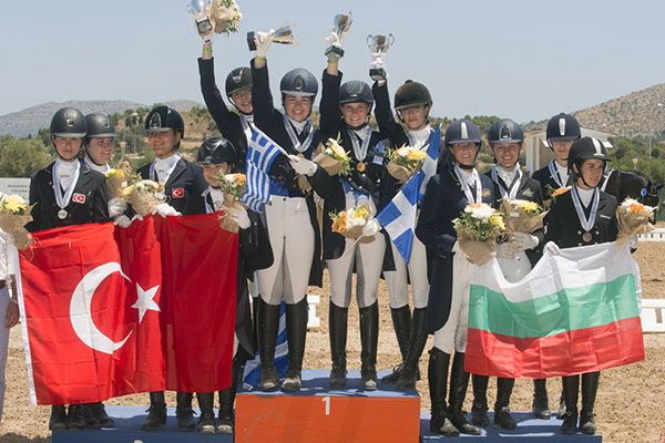Junior Team medals at the FEI Balkan Dressage Championshps--Greece gold, Turkey silver and Bulgaria bronze. © FEI/Alexis Valilopoulos