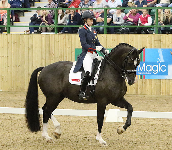 Charlotte Dujardin and Valegro score 90.625% in performance of new Olympic Freestyle in final competition before leaving for Rio de Janeiro. © 2016 Ken Braddick/dressage-news.com