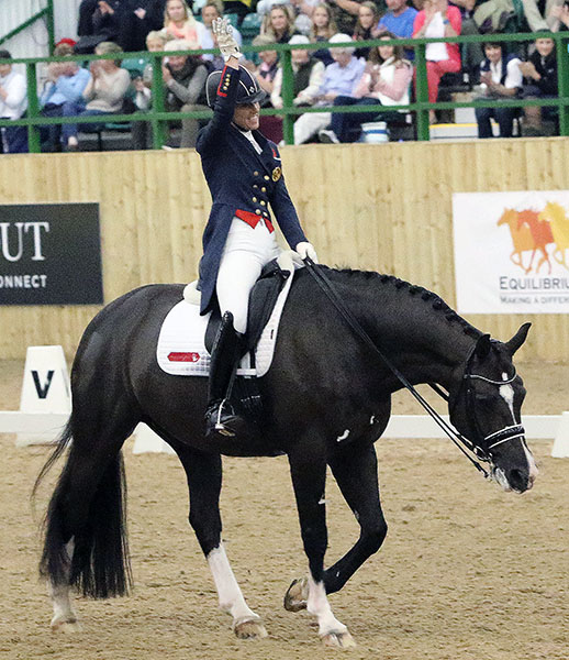 Charlotte Dujardin on Valegro at the end of their new Olympic freestyle. © 2016 Ken Braddick/dressage-news.com