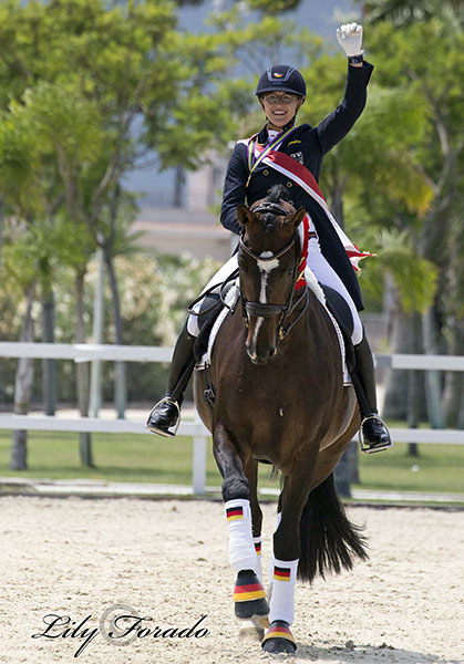 Germany's European Junior Championship triple gold medal pair Hannah Erbe and Carlos. © Lily Forado for dressage-news.com