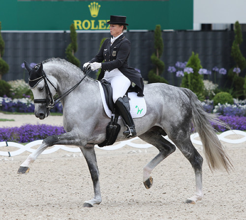 Isabell Werth and DSP Belantis display the extraordinary scope of the young stallion © Ilse Schwarz/dressage-news.com