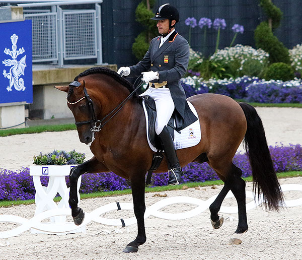 José Daniel Martín Dockx and Grandioso at the Aachen CDIO5* Nations Cup. © 2016 Ken Braddick/dressage-news.com