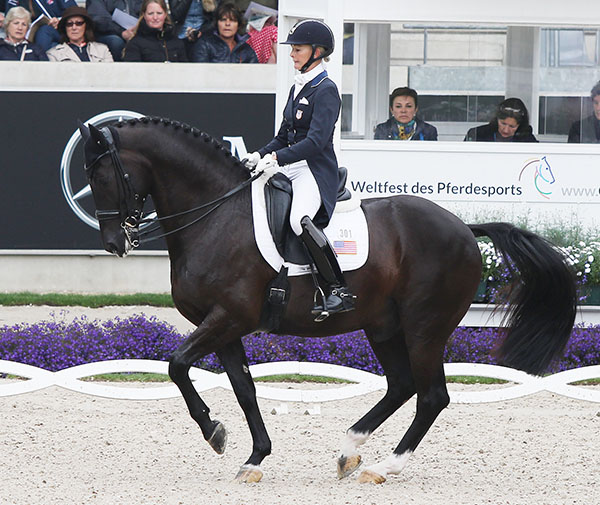 Alcazar being ridden by Katherine Bateson-Chandler in the Nations Cup Grand Prix at Aachen, Germany.  2016 Ilse Schwarz/dressage-news.com