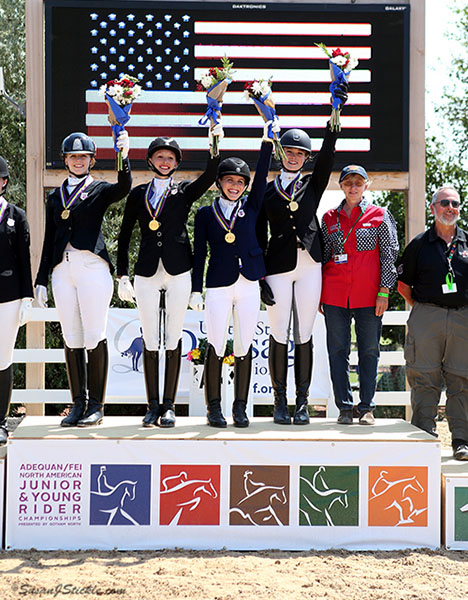 USA's Region 3 of southeastern states gold medal winners in the North American Junior Rider Championships team competition. © 2016 SusanJStickle.com