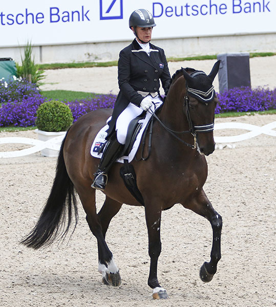 Sue Hearn and Remmington competing at Aachen, Germany in the last competition before the Australian team goes to the Olympic Games in Rio de Janeiro. © 2016 Ken Braddick/dressage-news.com