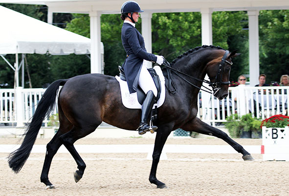Adrienne Lyle on Horizon in the USA Developing Horse Prix St. Georges Championships. © 2016 Ken Braddick/dressage-news.com
