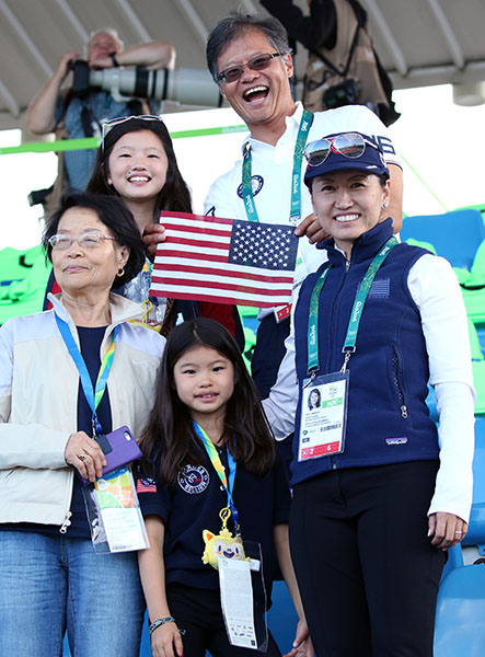 Akiko Yamazaki and Jerry Yang with family at the Ro Olympics. © 2016 Ken Braddick/dressage-news.com
