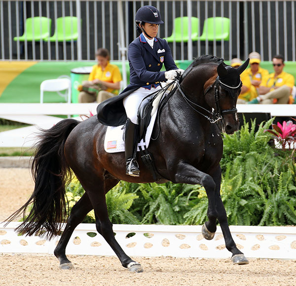 Allison Brock on Rosevelt setting the trend for the United States team that won the Rio Olympic bronze medal. © 2016 Ken Braddick/dressage-news.com