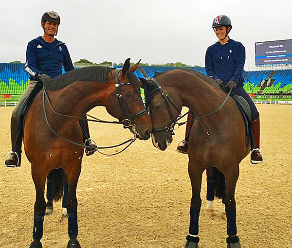 Nip Tuck ridden by Carl Hester and Valegro with Charlotte Dujardin conferring on the Olympic venue. Photo courtesy Ian Cast