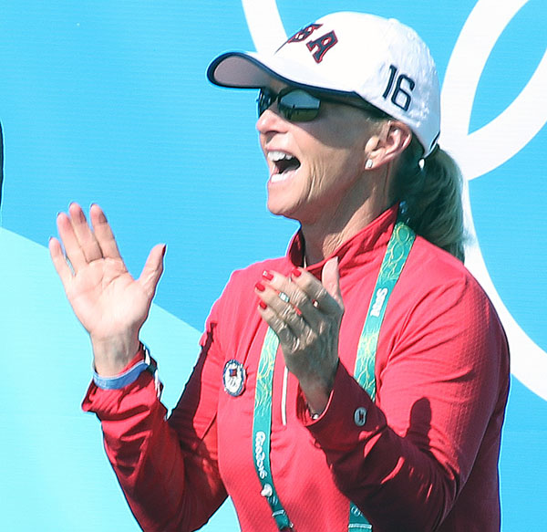 Debbie McDonald elated at the Olympic Grand Prix Freestyle performed by Laura Graves and Verdades. © 2016 Ken Braddick/dressage-news.com