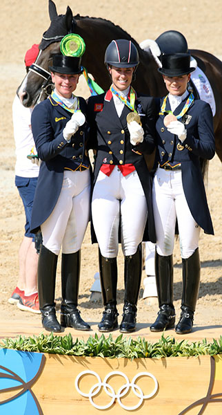 Olympic dressage individual medalists Charlotte Dujardin (gold), Isabell Werth (silver) and Germany's Kristina Bröring-Sprehe (bronze) in Rio de Janeiro. The three The Rio medals boosted Isabell Werth's total of Olympic medals to an equestrian record 10, while Charlotte has a total of two individual and one team gold and team silver while Kristina has a team gold, team silver and individual bronze. Horse in the background is Valegro, sharing Charlotte's medals. © 2016 Ken Braddick/dressage-news.com
