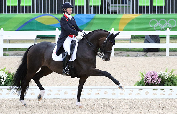 Fiona Bigwood on Orthilia setting the pace for Great Britain in the Olympic Grand Prix. © 2016 Ken Braddick/dressage-news.com