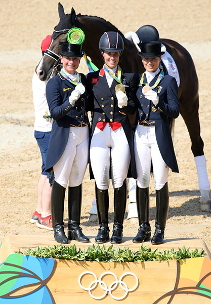 Olympic individual medalists Charlotte Dujardin (gold), Isabell Werth (silver) and Kristina Bröring-Sprehe (bronze). Where is the medal for Valegro? © 2016 Ken Braddick/dressage-news.com
