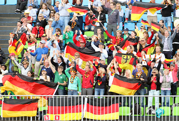 German fans celebrating the ride by Isabell Werth and Werihegold OLD in the Olympic team Grand Prix medal event. © 2016 Ken Braddic/dressage-news.com