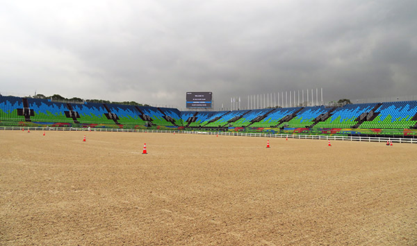 The Olympic dressage competition arena at Deodoro in Rio de Janeiro. Photo courtesy of Steffen Peters