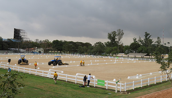 Olympic dressage warmup arenas at Deodoro. Photo courtesy Steffen Peters
