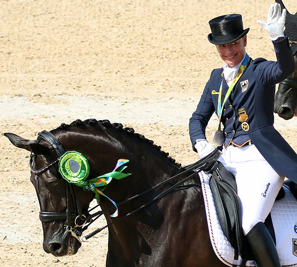 Isabell Werth on Weihegold OLD celebrating Olympic individual silver medal at Rio de Janeiro. © 2016 Ken Braddick/dressage-news.com
