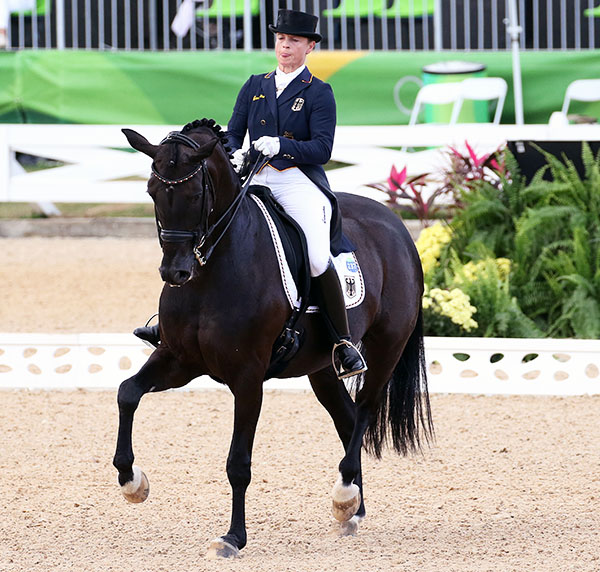Isabell Werth and Weihegold FRH posting the highest score in the Grand Prix Special to clinch Olympic team gold for Germany. © 2016 Ken Braddick/dressage-news.com