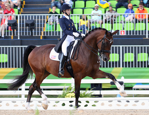 Laura Graves on Verdades rising to the occasion to produce a personal best Grand Prix result in the Olympic team dressage competition. © 2016 Ken Braddick/dressage-news.com