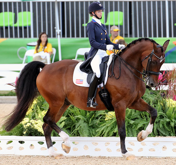 "Laura Graves on Verdades brining the ""wow"" factor into the Grand Prix Special that locked up the Olympic team bronze medal for the United States. © 2016 Ken Braddick/dressage-news.com"