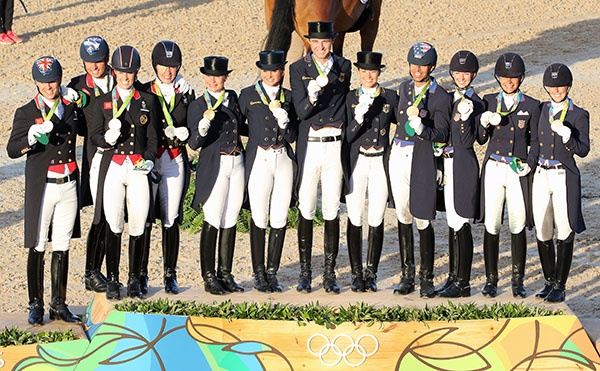 Olympic dressage medal teams of four riders with three scores counting on the podium at Rio de Janeiro--Germany (gold), Great Britain (silver) and USA (bronze). © 2016 Ken Braddick/dressage-news.com