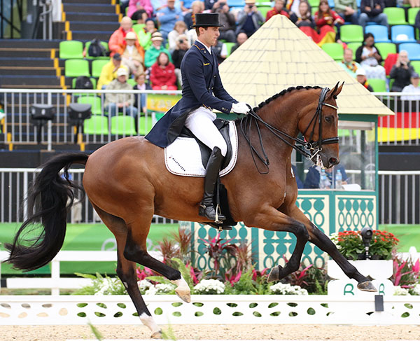 Sönke Rothenberger, 19 years old, and the nine-year-old Cosmo showing why the youngest combined age of horse and rider to make it to Germany's A-list were on a team that may be the most powerful ever. © 2016 Ken Braddick/dressage-news.com