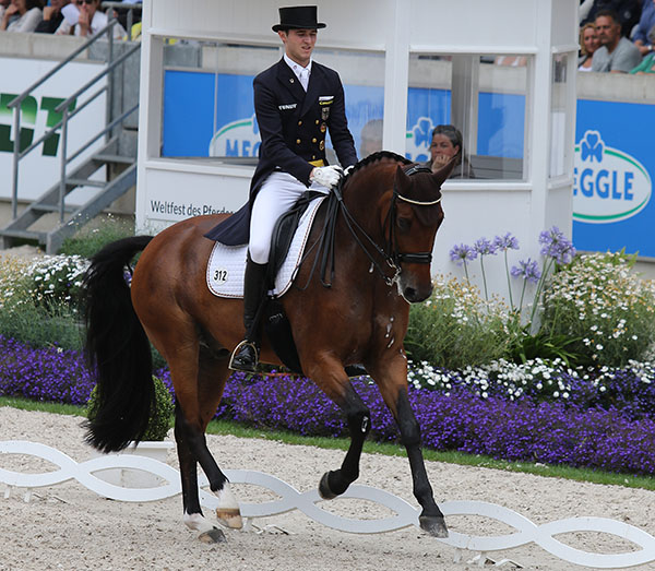 Sönke Rothenberger and Cosmo on German Nations Cup team at World Equestrian Festival in Aachen, Germany. © 2016 Ken Braddick/dressage-news.com