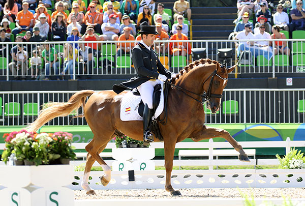 Severo Lopez on Lorenzo was the highest placing combination on Spain's team that was good enough to make the Grand Prix Special as an individual in Olympic dressage team competition. © 2016 Ken Braddick/dressage-news.com
