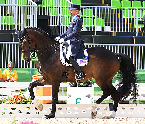 Steffen Peters on Legolas, the top ranked USA combination in the Olympic Grand Prix. The United States won team bronze. © 2016 Ken Braddick/dressage-news.com.