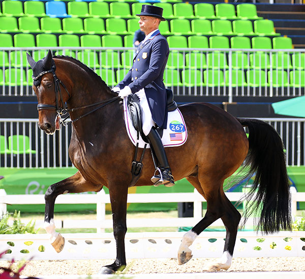 Steffen Peters performing what he said was the best ride ever on Legolas and was sixth individually in the Olympic dressage Grand Prix with the Special to go to determine team medals.©2016 Ken Braddick/dressage-news.com