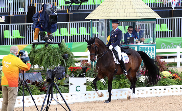 Steffen Peters on Legolas riding into the eyes of TV cameras and judges in the Grand Prix Special for the Olympic team medals. © 2016 Ken Braddick/dressage-news.com